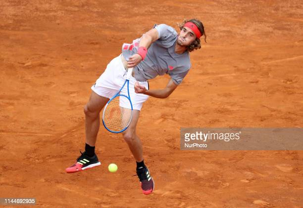 Stefanos Tsitsipas during the ATP Internazionali d'Italia BNL semifinal match at Foro Italico in Rome Italy on May 18 2019