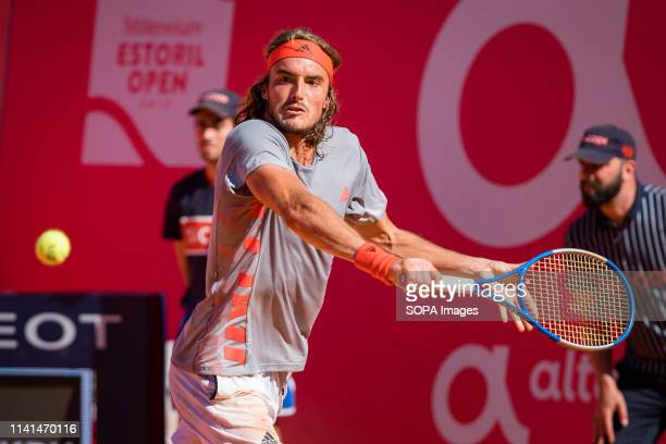 Stefanos Tsitsipas from Greece during the game with David Goffin from Belgium for the semifinal of Millennium Estoril Open ATP 250 tennis match in...