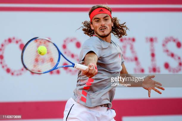 Stefanos Tsitsipas from Greece in action during the Day 5 of the Millennium Estoril Open 2019 in Estoril