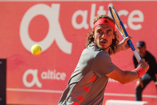 Stefanos Tsitsipas from Greece in action during the final match between Stefanos Tsitsipas from Greece and Pablo Cuevas from Uruguay during...