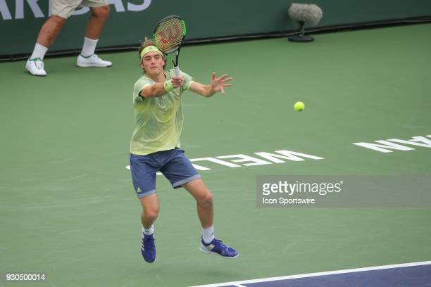 Stefanos Tsitsipas hits a forehand during the BNP Paribas Open on March 10 2018 at the Indian Wells Tennis Garden in Indian Wells CA