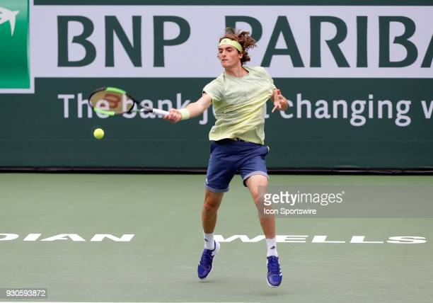 Stefanos Tsitsipas hits a forehand during the second round of the BNP Paribas Open on March 10 at the Indian Wells Tennis Gardens in Indian Wells CA