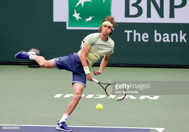 Stefanos Tsitsipas hits a serve during the second round of the BNP Paribas Open on March 10 at the Indian Wells Tennis Gardens in Indian Wells CA