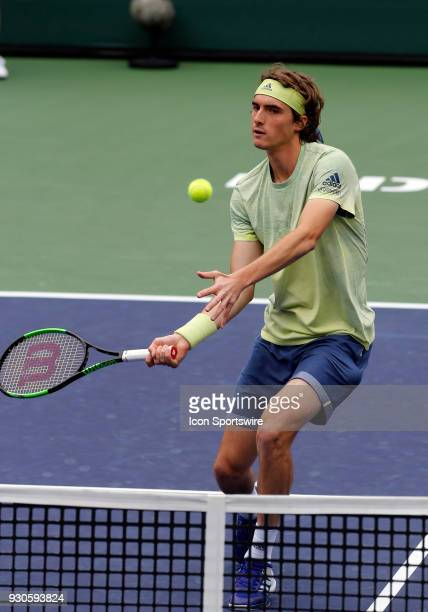 Stefanos Tsitsipas hits a volley during the second round of the BNP Paribas Open on March 10 at the Indian Wells Tennis Gardens in Indian Wells CA