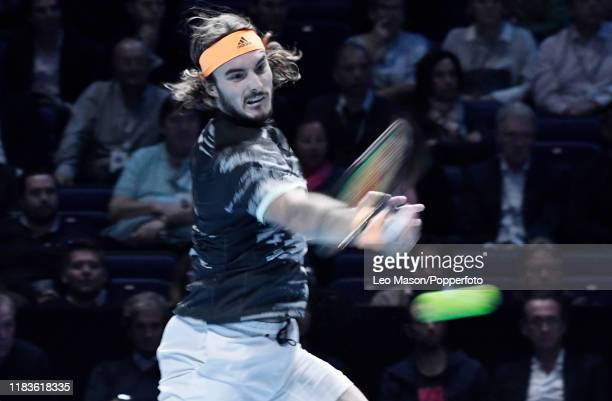 Stefanos Tsitsipas in action against Rafael Nadal during their match on Day Six of the Nitto ATP Finals at The O2 Arena on November 15 2019 in London...