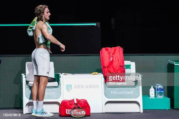 Stefanos Tsitsipas of Greece after match end during the 48e ABN AMRO World Tennis Tournament at Rotterdam Ahoy on March 2, 2021 in Rotterdam, The...