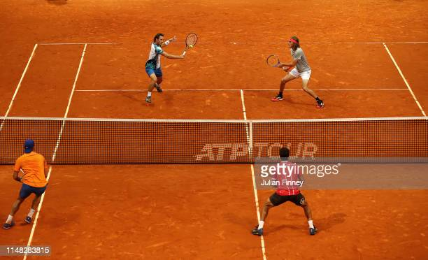 Stefanos Tsitsipas of Greece and Wesley Koolhof of Netherlands in action against JeanJulien Rojer of Netherlands and Horia Tecau of Romania in the...