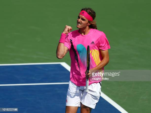 Stefanos Tsitsipas of Greece celebrates a point against Kevin Anderson of South Africa during a semi final match on Day 6 of the Rogers Cup at Aviva...
