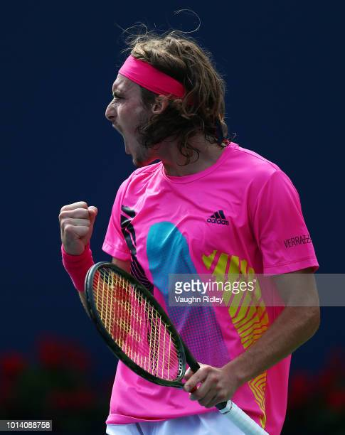 Stefanos Tsitsipas of Greece celebrates a point against Novak Djokovic of Serbia during a 3rd round match on Day 4 of the Rogers Cup at Aviva Centre...