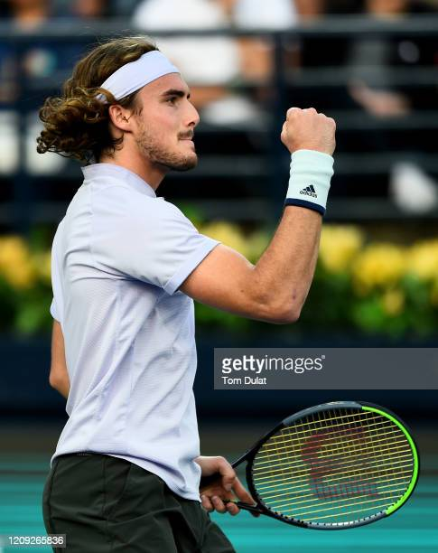 Stefanos Tsitsipas of Greece celebrates a point during his men's semi final match against Daniel Evans of Great Britain on Day 12 of the Dubai Duty...