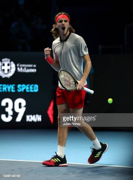 Stefanos Tsitsipas of Greece celebrates a point in his group match against Jaume Munar of Spain during Day One of the Next Gen ATP Finals at Fiera...