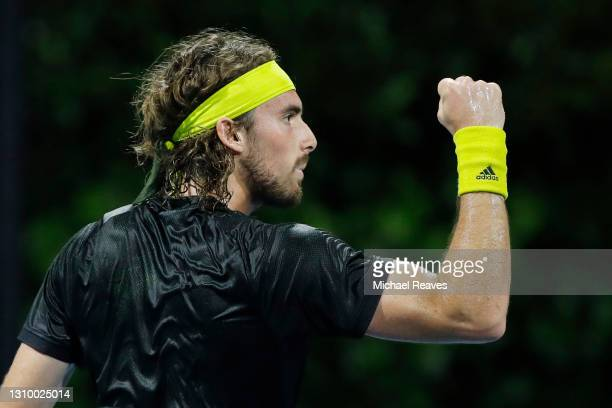 Stefanos Tsitsipas of Greece celebrates a point in his match against Lorenzo Sonego of Italy during the Miami Open at Hard Rock Stadium on March 30,...