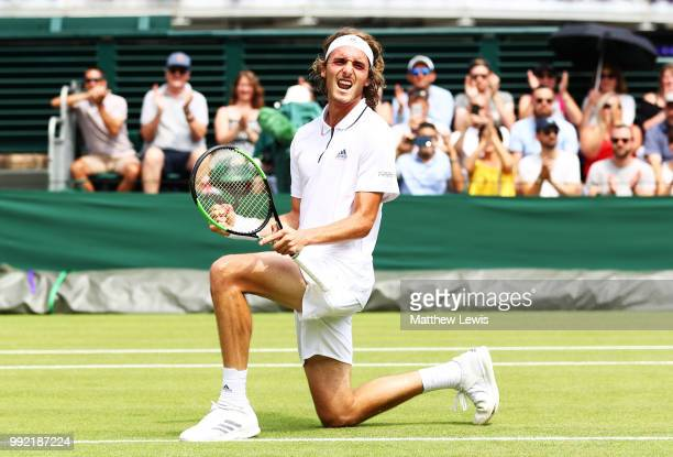Stefanos Tsitsipas of Greece celebrates after defeating Jared Donaldson of the United States in their Men's Doubles first round match on day four of...
