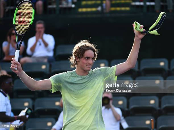 Stefanos Tsitsipas of Greece celebrates after defeating Radu Albot of Moldova during Day 4 of the BNP Paribas Open on March 8 2018 in Indian Wells...