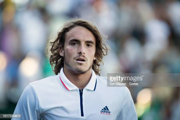 Stefanos Tsitsipas of Greece celebrates after his victory against Gregoire Barrere of France in the Gentlemen's Singles First Round match on Court...