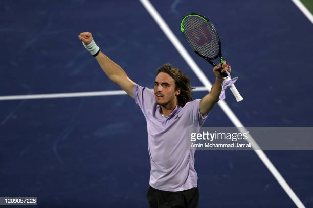 Stefanos Tsitsipas of Greece celebrates after the match against JanLennard Struff of Germany during his men's singles match on day eleven of the...