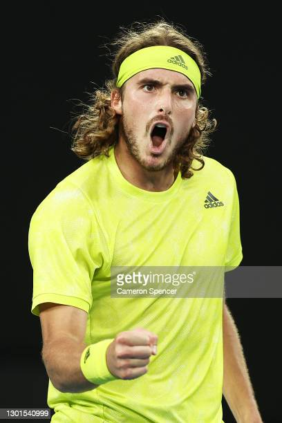 Stefanos Tsitsipas of Greece celebrates after winning a point in his Men's Singles second round match against Thanasi Kokkinakis of Australia during...