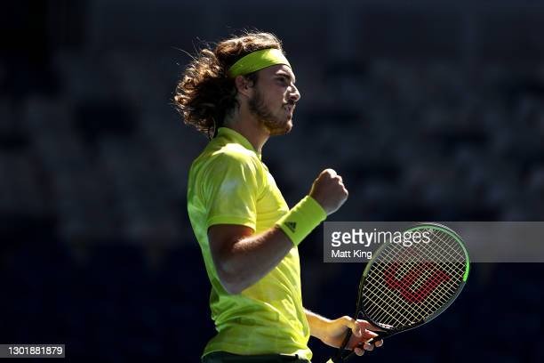 Stefanos Tsitsipas of Greece celebrates after winning a point in his Men's Singles third round match against Mikael Ymer of Sweden during day six of...