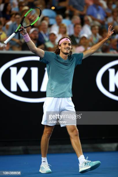 Stefanos Tsitsipas of Greece celebrates after winning match point in his third round match against Nikoloz Basilashvili of Georgia during day five of...
