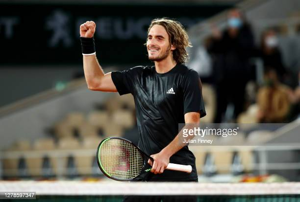 Stefanos Tsitsipas of Greece celebrates after winning match point during his Men's Singles fourth round match against Grigor Dimitrov of Bulgaria on...