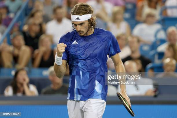 Stefanos Tsitsipas of Greece celebrates against Felix Auger-Aliassime of Canada during the Western & Southern Open at Lindner Family Tennis Center on...