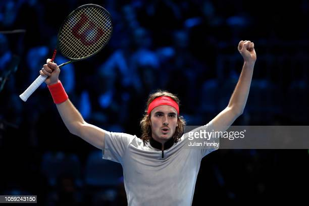 Stefanos Tsitsipas of Greece celebrates at match point after his win over Hubert Hurkacz of Poland in the group stages during Day Three of the Next...