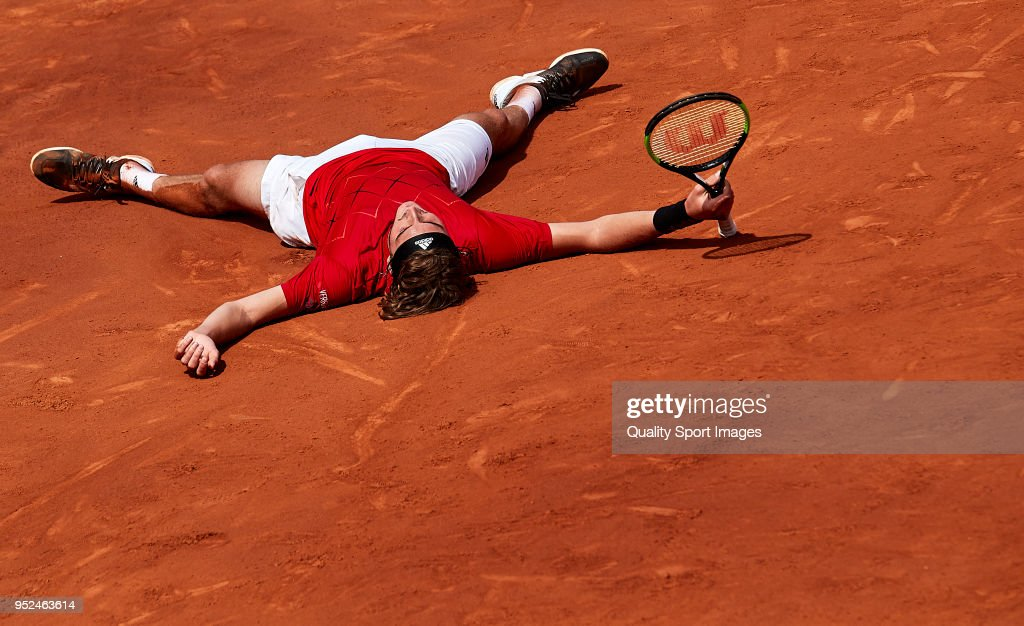 Stefanos Tsitsipas of Greece celebrates at match point against Pablo Carreno Busta of Spain during day sixth of the ATP Barcelona Open Banc Sabadell at the Real Club de Tenis Barcelona on April 28, 2018 in Barcelona, Spain.
