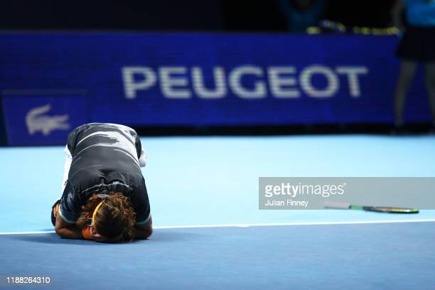 Stefanos Tsitsipas of Greece celebrates championship point in his singles final match against Dominic Thiem of Austria during Day Eight of the Nitto...