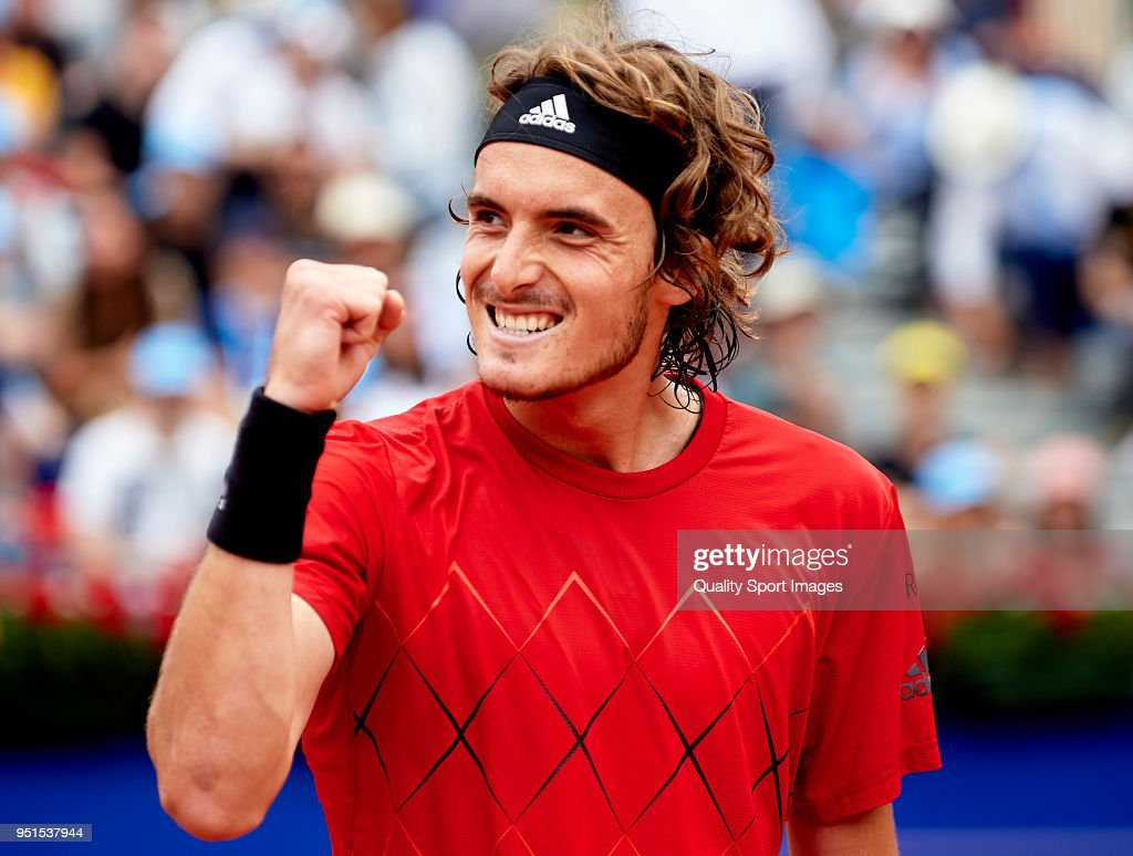 Stefanos Tsitsipas of Greece celebrates defeating Albert Ramos-Vinolas of Spain after their match during day fourth of the ATP Barcelona Open Banc Sabadell at the Real Club de Tenis Barcelona on April 26, 2018 in Barcelona, Spain.