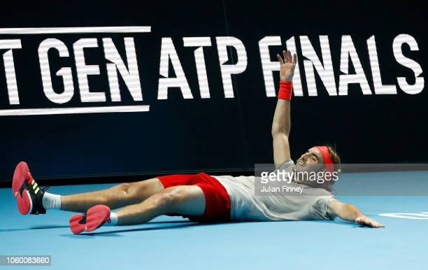 Stefanos Tsitsipas of Greece celebrates defeating Alex de Minaur of Australia in the final during Day Five of the Next Gen ATP Finals at Fiera Milano...