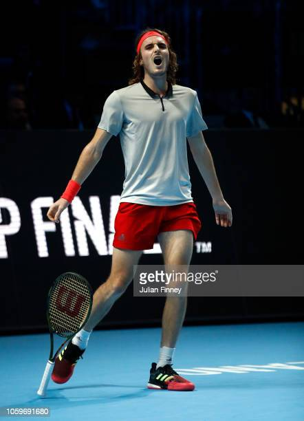 Stefanos Tsitsipas of Greece celebrates defeating Andrey Rublev of Russia in the semi finals during Day Four of the Next Gen ATP Finals at Fiera...