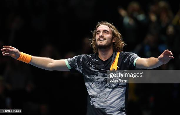 Stefanos Tsitsipas of Greece celebrates defeating Dominic Thiem of Austria during Day Eight of the Nitto ATP Finals at The O2 Arena on November 17,...