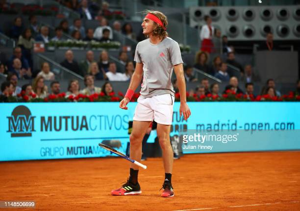 Stefanos Tsitsipas of Greece celebrates defeating Rafael Nadal of Spain in the semi finals during day eight of the Mutua Madrid Open at La Caja...