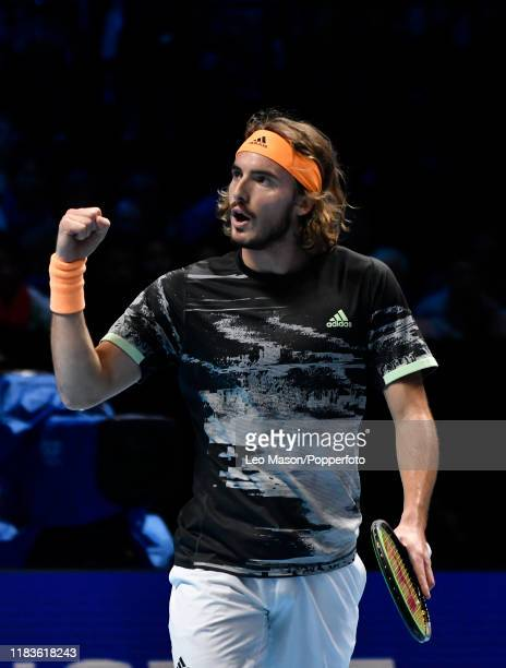 Stefanos Tsitsipas of Greece celebrates during his match against Dominic Thiem during their Final match on Day Eight of the Nitto ATP Finals at The...