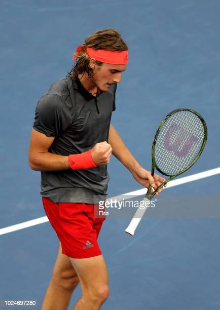 Stefanos Tsitsipas of Greece celebrates during his men's singles first round match against Tommy Robredo of Spain on Day One of the 2018 US Open at...
