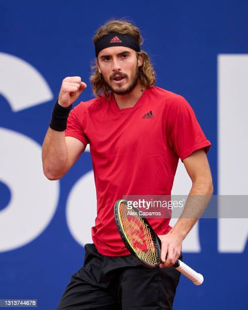 Stefanos Tsitsipas of Greece celebrates during his second round match against Jaume Munar of Spain during day three of the Barcelona Open Banc...