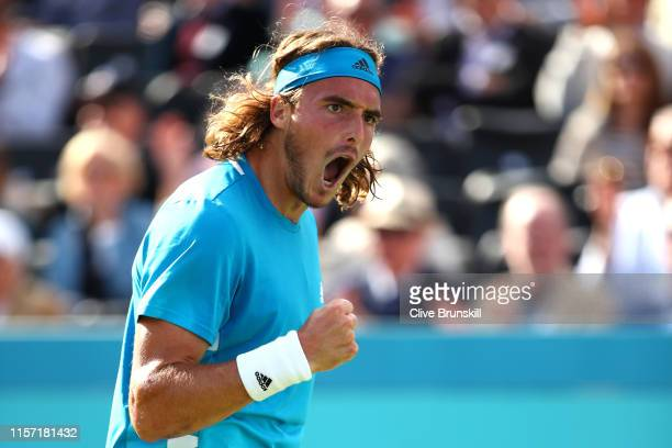 Stefanos Tsitsipas of Greece celebrates during his Second Round Singles Match against Jeremy Chardy of France during day Four of the FeverTree...