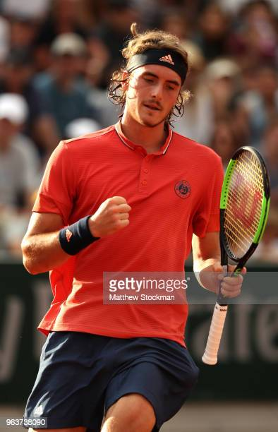 Stefanos Tsitsipas of Greece celebrates during the mens singles second round match against Dominic Thiem of Austria during day four of the 2018...