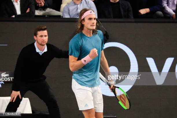 Stefanos Tsitsipas of Greece celebrates during the Open of Marseille on February 20 2019 in Marseille France