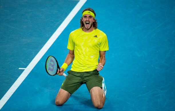 Stefanos Tsitsipas of Greece celebrates his five set victory over Thanasi Kokkinakis of Australia during day four of the 2021 Australian Open at...