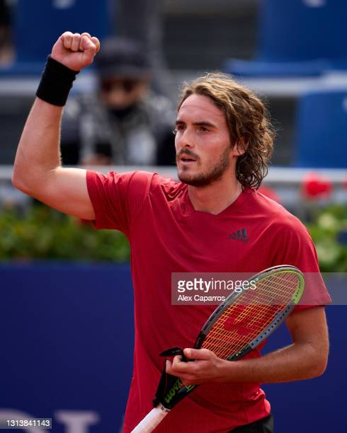 Stefanos Tsitsipas of Greece celebrates his victory against Alex De Minaur of Australia in their third round match during day four of the Barcelona...