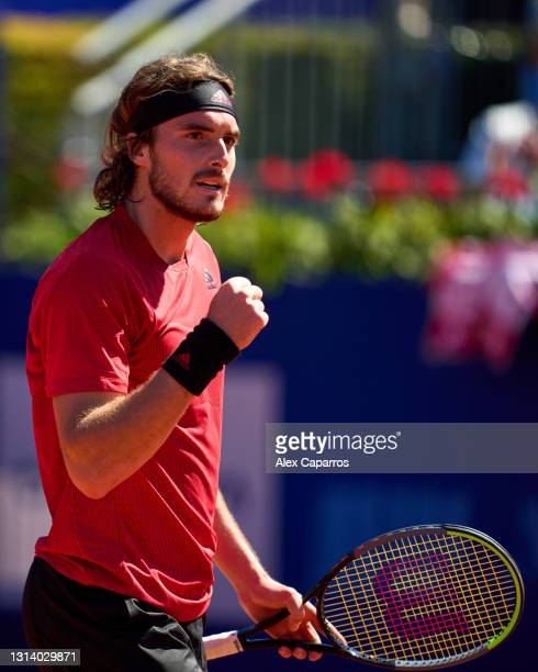 Stefanos Tsitsipas of Greece celebrates his victory against Felix Auger-Aliassime of Canada in their quarter-final match during day five of the...