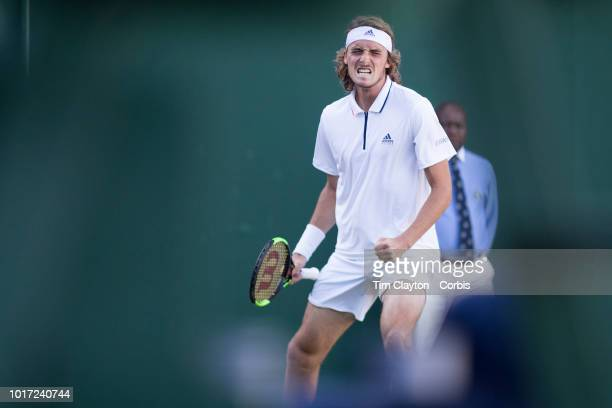 Stefanos Tsitsipas of Greece celebrates his victory against Gregoire Barrere of France in the Gentlemen's Singles First Round match on Court Eighteen...