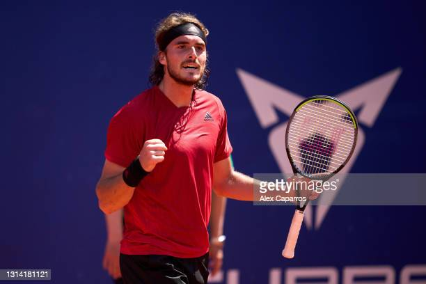 Stefanos Tsitsipas of Greece celebrates his victory against Jannik Sinner of Italy in their semifinal match during day six of the Barcelona Open Banc...
