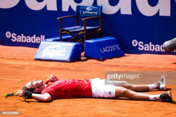 Stefanos Tsitsipas of Greece celebrates his victory against Pablo Carreno of Spain in their semifinal match during day six of the Barcelona Open Banc...