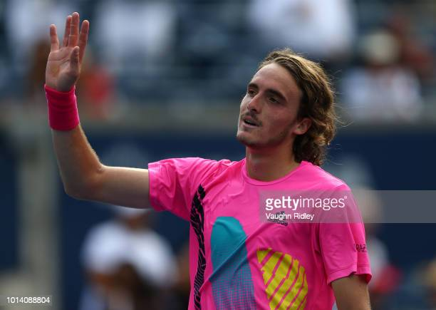 Stefanos Tsitsipas of Greece celebrates his victory over Novak Djokovic of Serbia during a 3rd round match on Day 4 of the Rogers Cup at Aviva Centre...