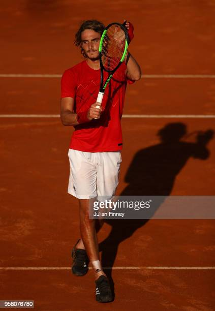 Stefanos Tsitsipas of Greece celebrates his win over Dusan Lajovic of Serbia during day one of the Internazionali BNL d'Italia 2018 tennis at Foro...