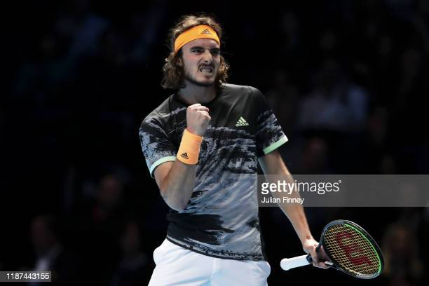 Stefanos Tsitsipas of Greece celebrates in his singles match against Alexander Zverev of Germany during Day Four of the Nitto ATP Finals at The O2...