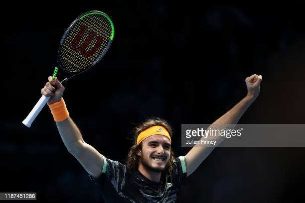 Stefanos Tsitsipas of Greece celebrates match point in his singles match against Alexander Zverev of Germany during Day Four of the Nitto ATP Finals...