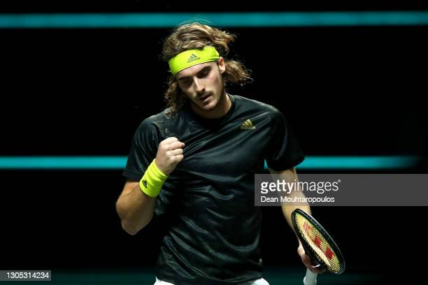 Stefanos Tsitsipas of Greece celebrates the point and set winning shot in his match against Hubert Hurkacz of Poland during Day 4 of the 48th ABN...